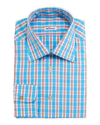 Check Dress Shirt, Aqua