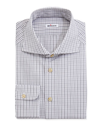 Woven Check Dress Shirt, Gray