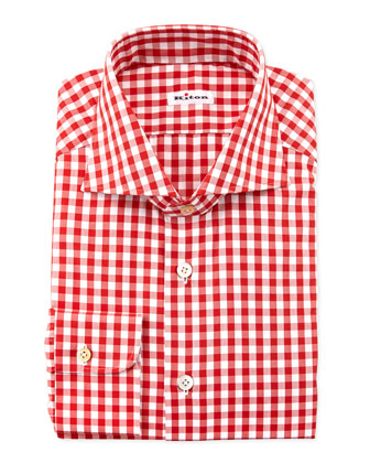 Large-Gingham Dress Shirt, Red
