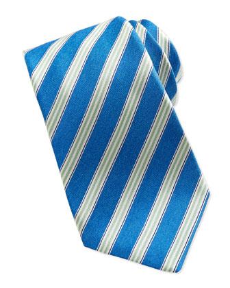Woven Track-Stripe Tie, Blue