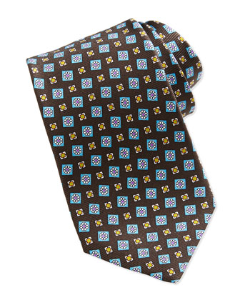 Tossed Squares Neat Printed Tie, Brown