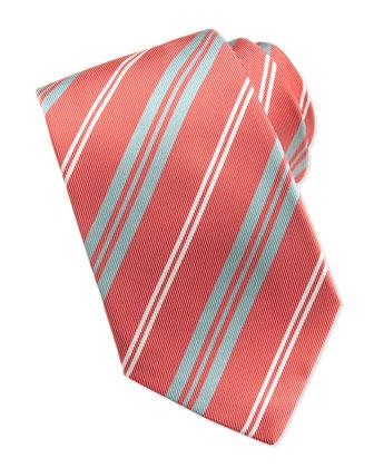 Printed Track-Stripe Tie, Coral