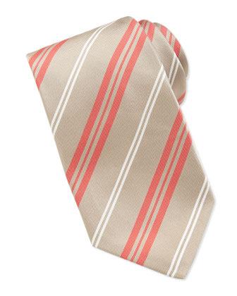 Printed Track-Stripe Tie, Tan