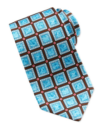 Medallion and Dot-Print Silk Tie, Brown