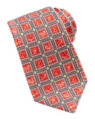 Medallion and Dot-Print Silk Tie, Gray