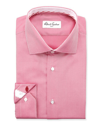 Lambert Herringbone Dress Shirt, Berry