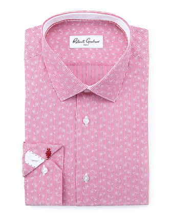 Gene Mini-Paisley Dress Shirt, Berry