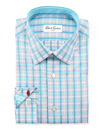Orson Plaid Dress Shirt, Gray/Teal