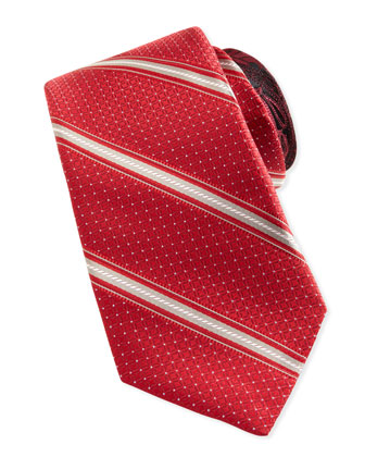 Rope-Stripe Silk Tie, Red