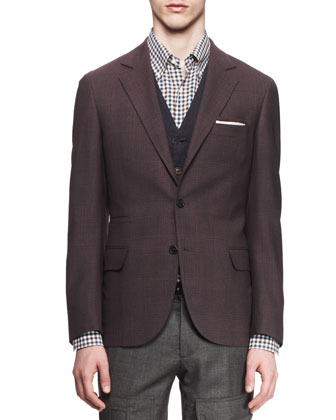 Glen Plaid Notched-Collar Wool-Silk Jacket, Five-Button Cotton Waistcoat, Textured Check ...