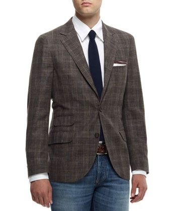 Madras Check Notch-Collar Jacket