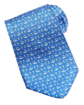 Crab-Print Silk Tie, Blue
