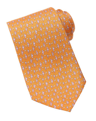Sailboat-Print Silk Tie, Orange