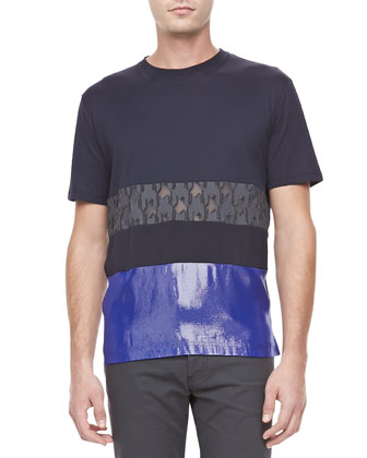 Mixed-Media Short-Sleeve Tee, Black/Blue