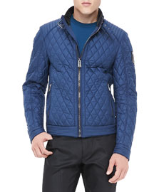 Brambley Quilted Racer Jacket, Blue