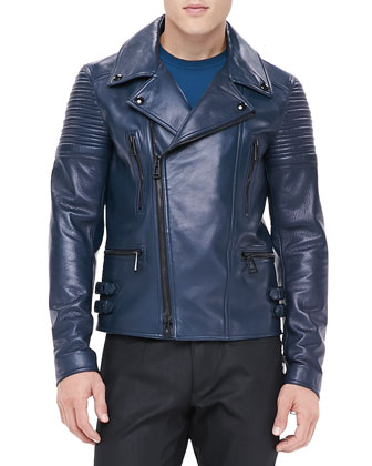 Kettering Leather Biker Jacket, Blue