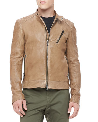 Kirkham Leather Biker Jacket, Tan