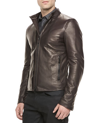 Holbrook Leather Moto Jacket, Amarone