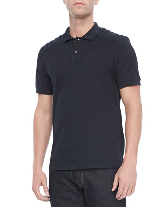 Aspley Textured Jersey Polo, Navy