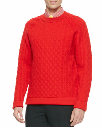 Quilted Crewneck Sweater, Red
