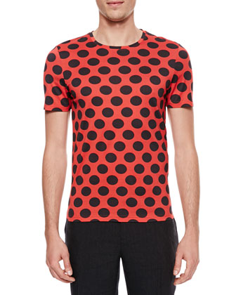 Polka-Dot Crewneck Short-Sleeve T-Shirt, Red