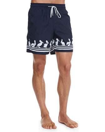 Moorea Pelican-Flocked Swim Trunks, Navy