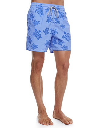Moorea Pelican-Print Swim Trunks, Blue