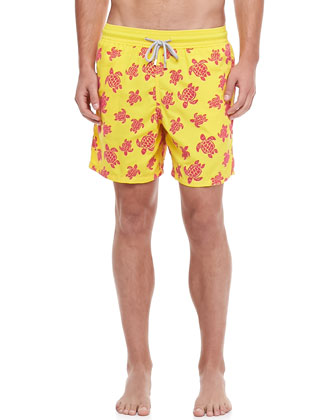Moorea Turtle Flocked Swim Trunks, Yellow