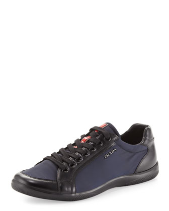Nylon & Leather Sneaker, Blue