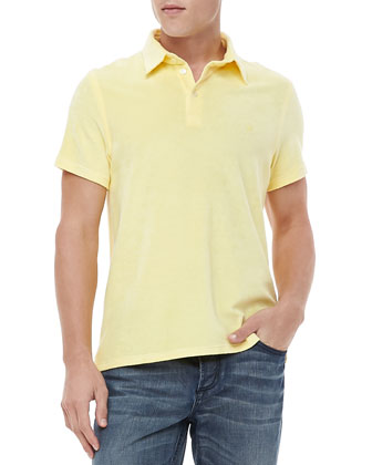Short Sleeve Terry Polo, Yellow