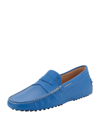 Men's Pebbled Leather Penny Driver, Blue