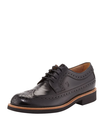Men's Lace-Up Leather Wing-Tip, Black