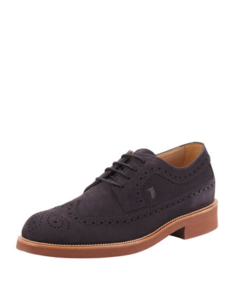 Men's Lace-Up Suede Wing-Tip, Navy