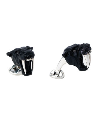 Sterling Saber Tooth Tiger Cuff Links