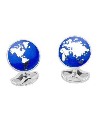 Earth Sterling Silver Cuff Links