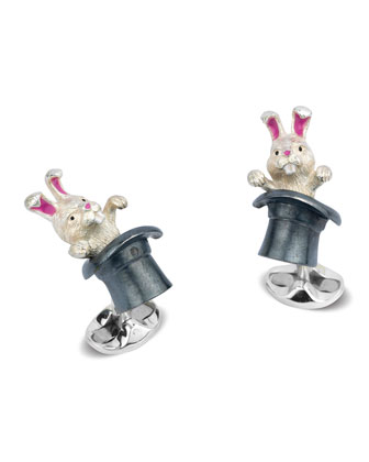 Rabbit in Hat Sterling Silver Cuff Links