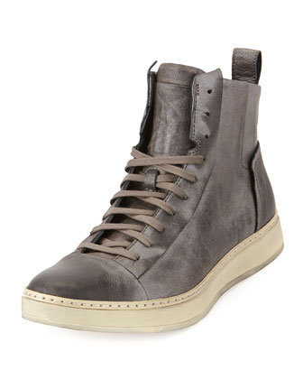 Deek High-Top Metallic-Finish Sneaker, Silver