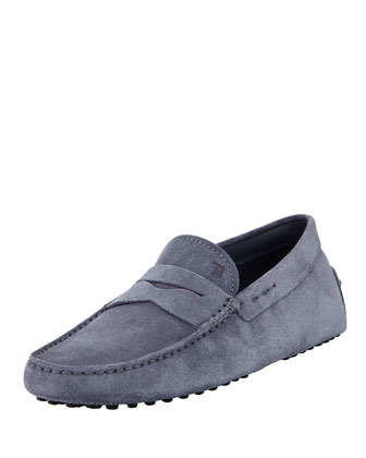 Men's Suede Penny Driver, Light Blue