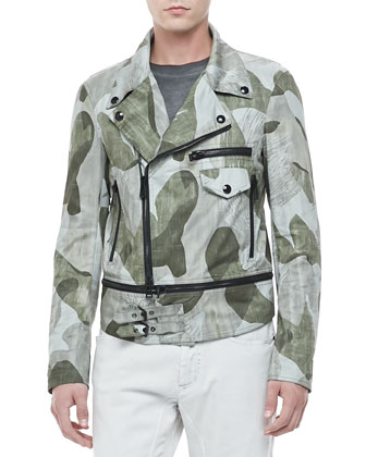 Worthing Camo Print Asymmetric Jacket, Green