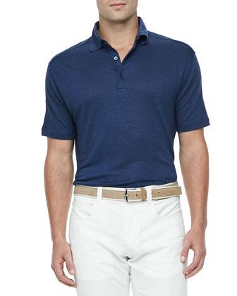 Doublon Linen-Jersey Polo, Blue