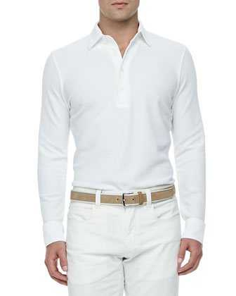 Huck-Lace-Cotton Long-Sleeve Polo, White