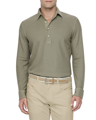 Huck Long-Sleeve Polo Shirt, Taupe