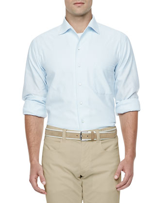 Andre Soft-Honeycomb Textured Shirt, Light Blue