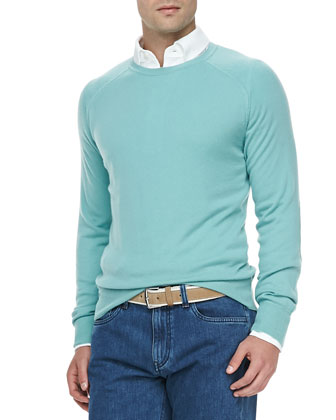 Westport Cashmere Crewneck Sweater, Water Green