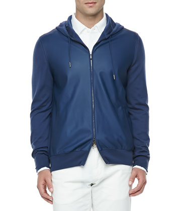 Leather & Cashmere Lightweight Bomber Jacket, Huck-Lace-Cotton Long-Sleeve Polo & Comfort-Dyed ...
