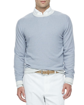 Westport Striped Cashmere Crewneck Sweater, Blue Shadow/White