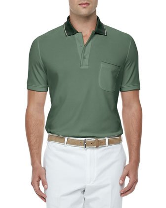 Regatta Contrast-Collar Polo, Jade/Forest