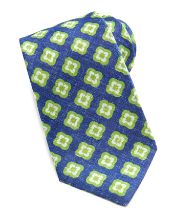 Floral-Medallion Linen Tie, Blue/Green