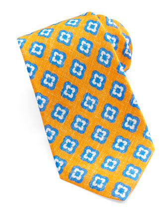 Floral-Medallion Linen Tie, Orange