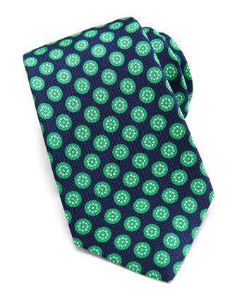 Round-Floral Silk Tie, Navy/Green